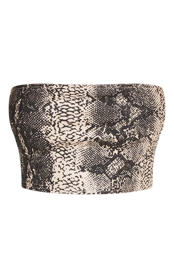 Nude Faux Leather Snakeskin Bandeau Crop Top 3
