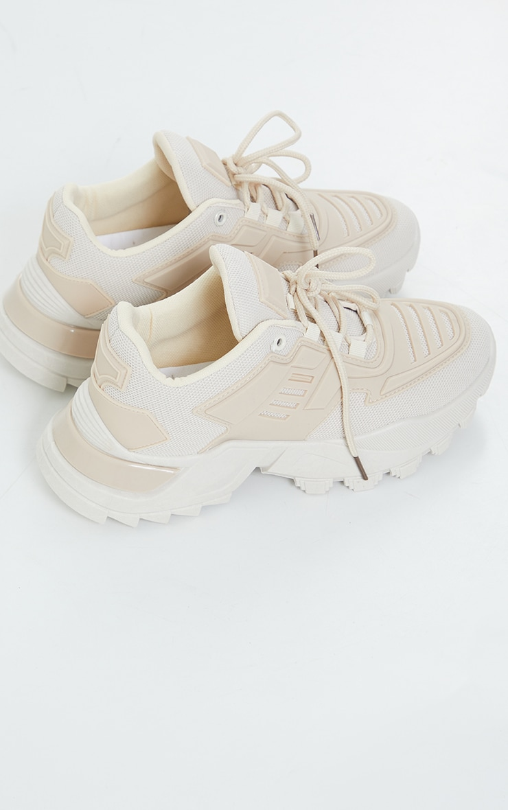 Beige Chunky Cleated Lace Up Sneakers 1