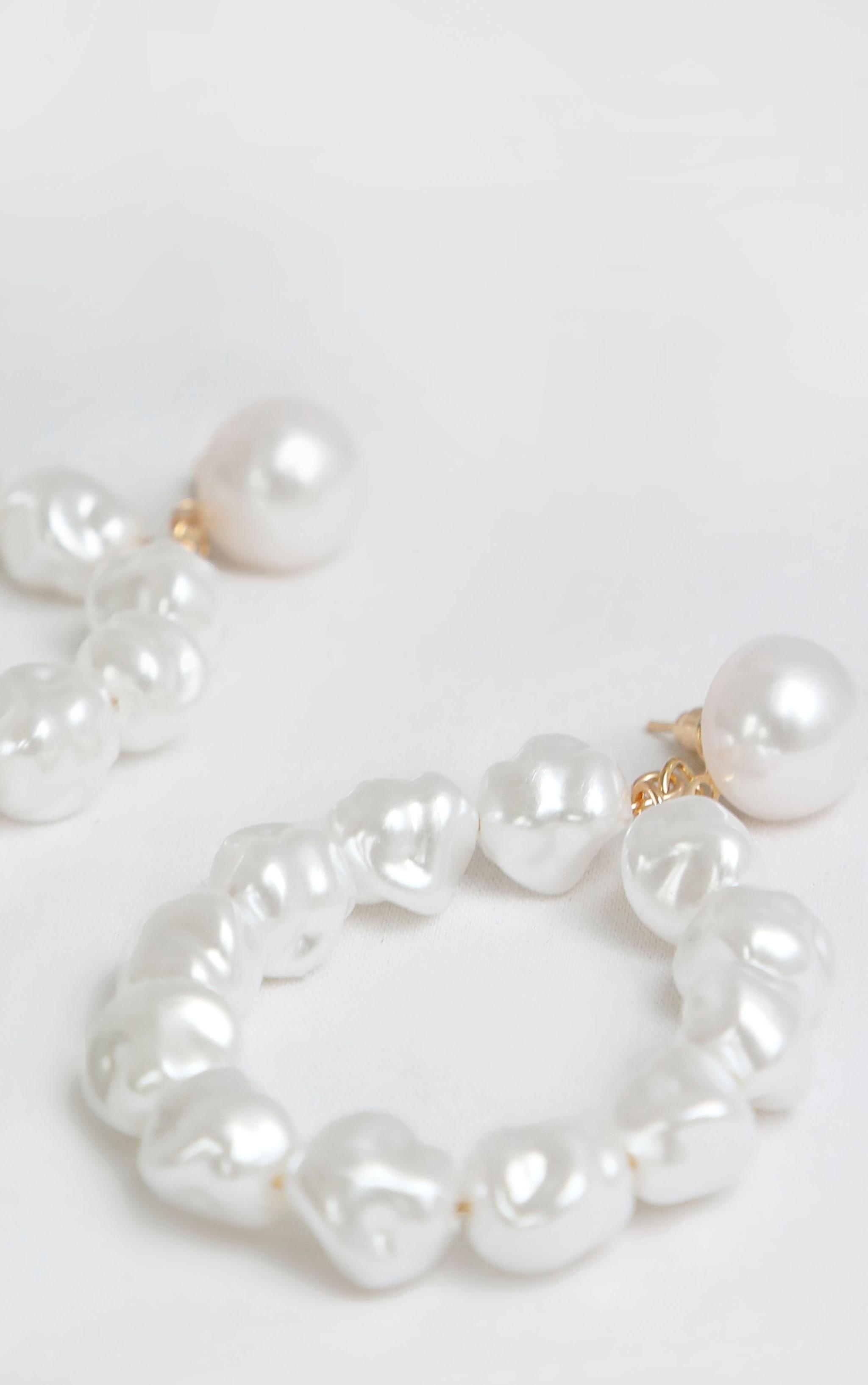 White Pearl Door Knocker Earrings 1