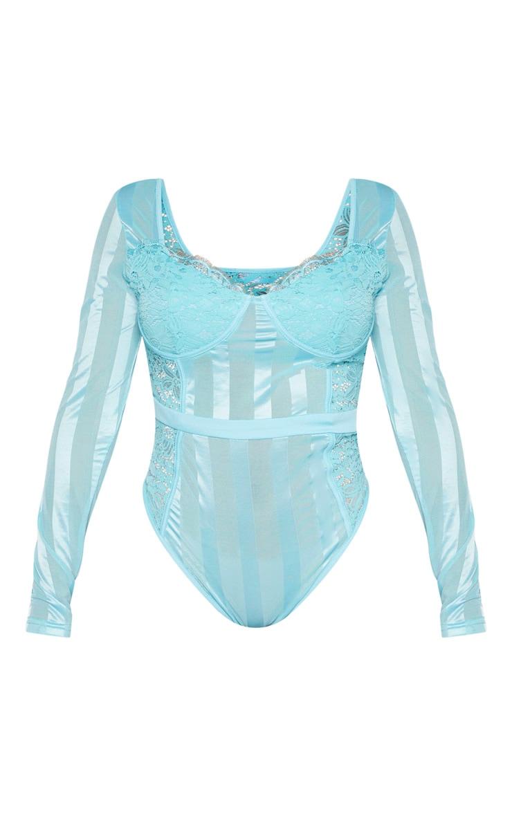 Shape Dusty Turquoise Lace Mesh Long Sleeve Stripe Bodysuit 3