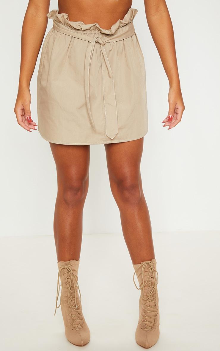 Stone Paperbag Waist Tie Front Mini Skirt 2