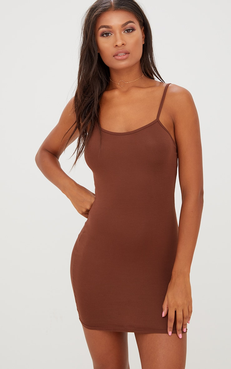 Basic Chocolate Brown Strappy Bodycon Dress 1