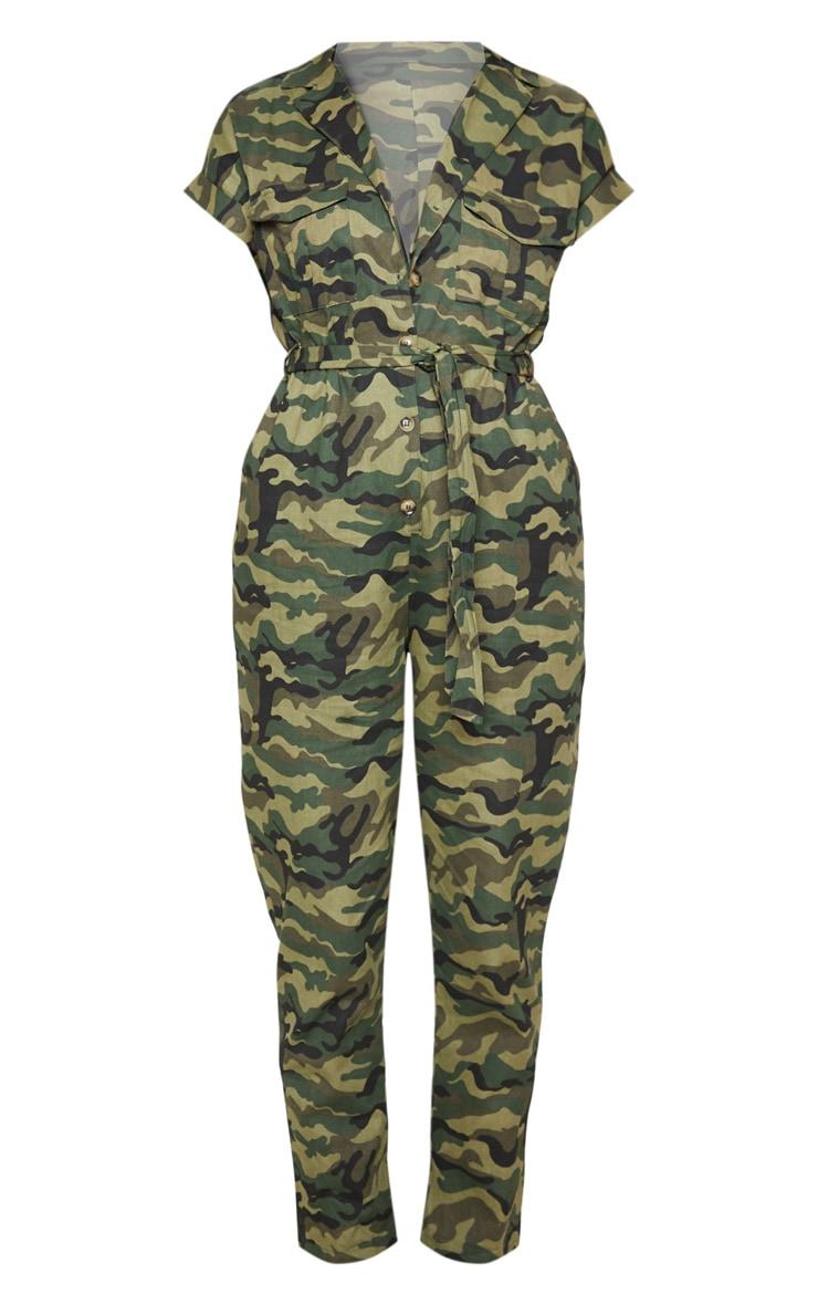 Khaki Camo Print Tie Waist Jumpsuit 3