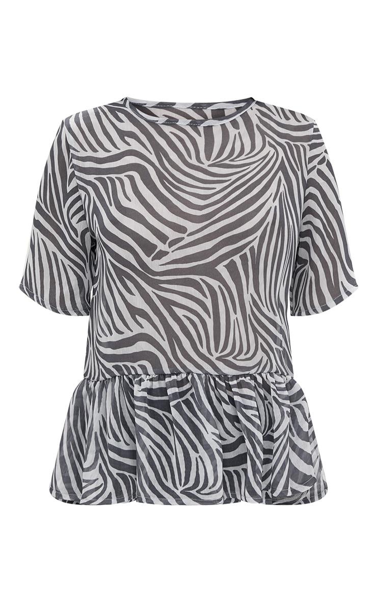 Black Zebra Print Mesh Frill Sleeve T Shirt 3