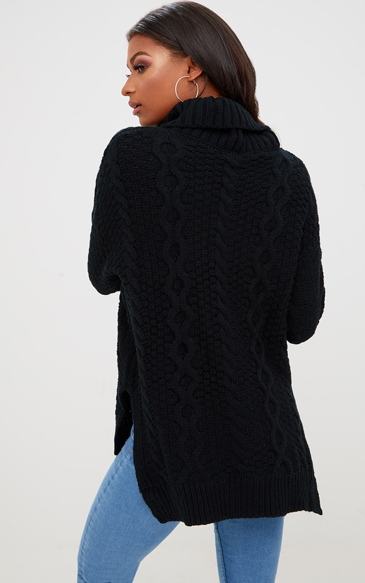 Black Chunky Cable Knit Roll Neck Jumper 2