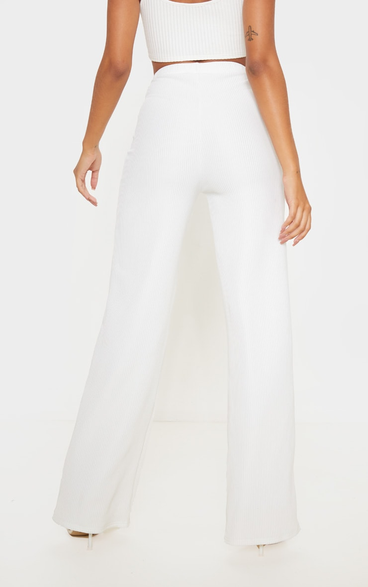 Cream Pleated Detail Wide Leg Pants 4