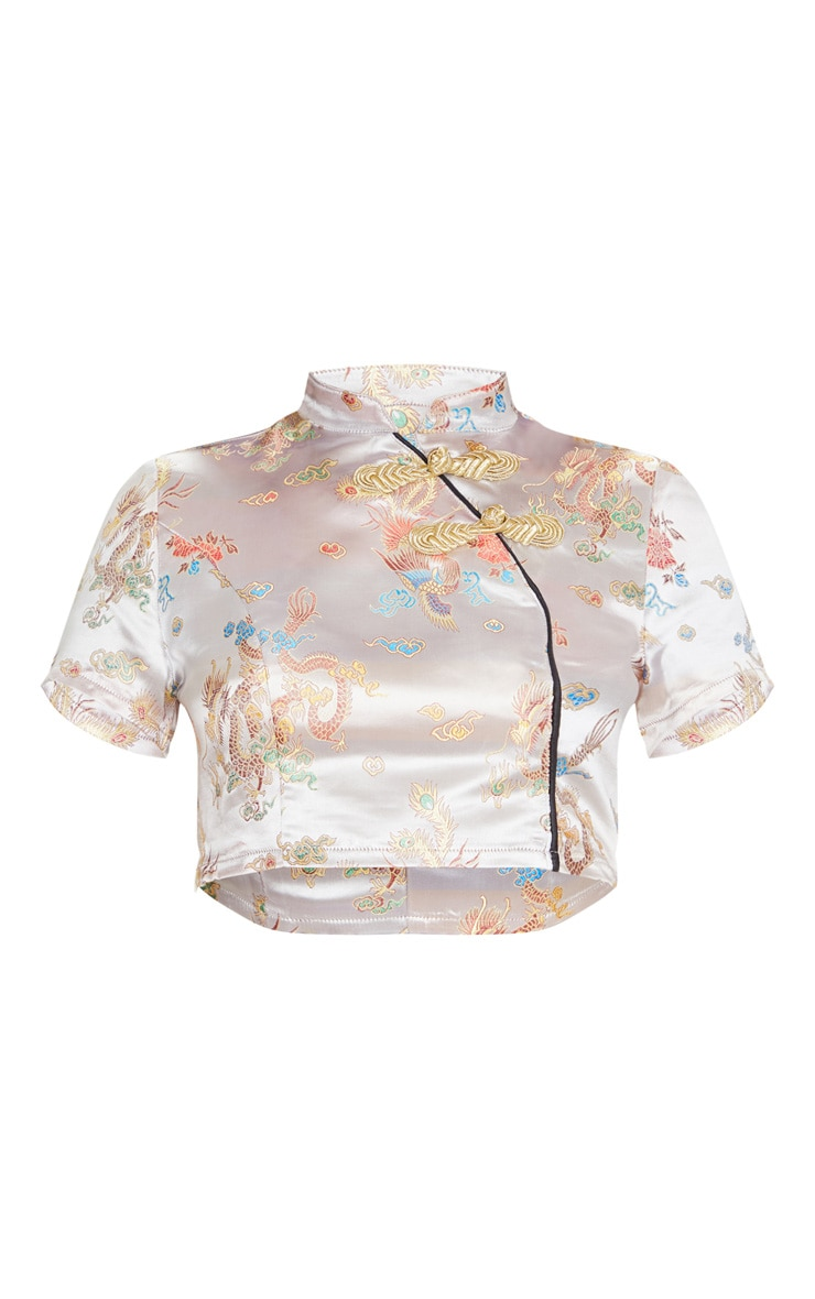 Champagne Dragon Print Satin High Neck Short Sleeve Crop Top 5