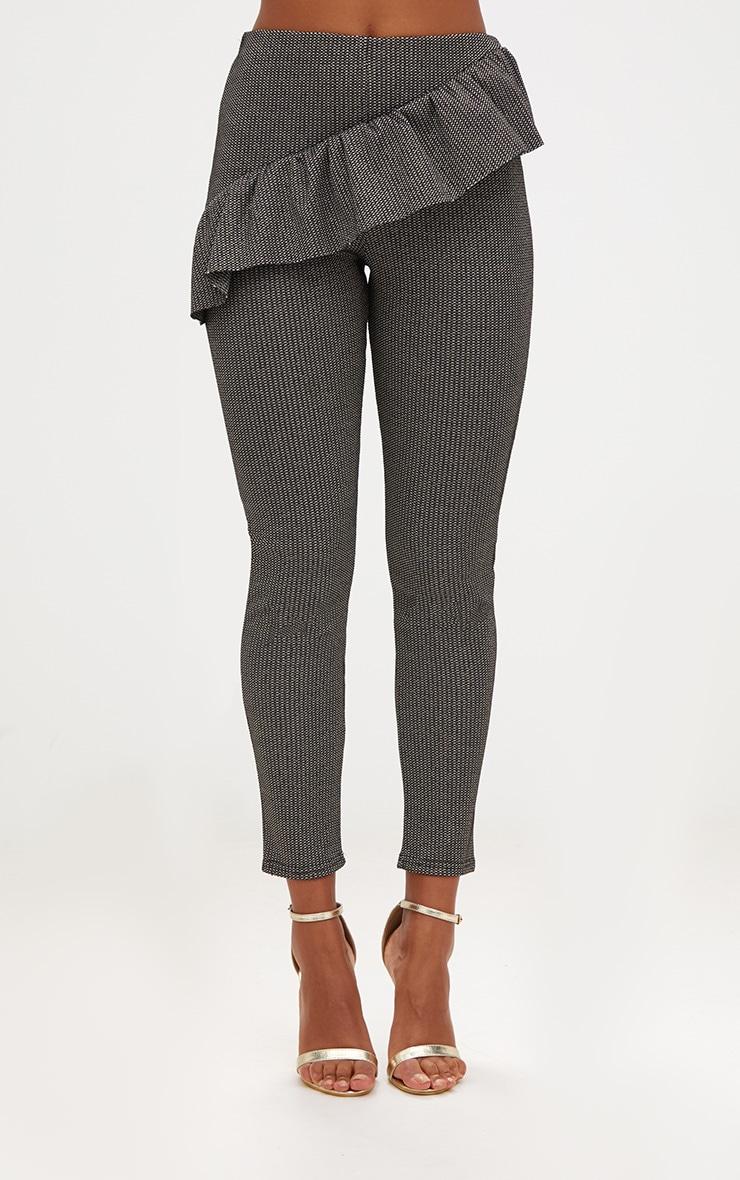 Black Metallic Tweed Frill Detail Skinny Trousers 2