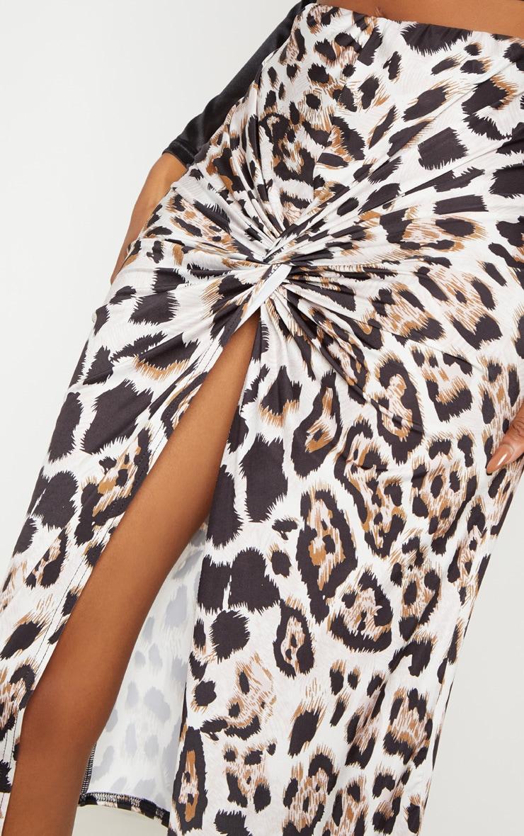 Leopard Print Twist Front Midi Skirt 5