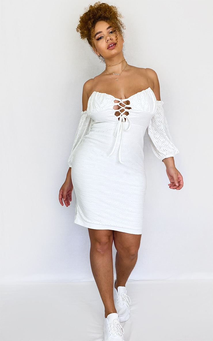 Plus White Broderie Bardot Lace Up Detail Bodycon Dress 3