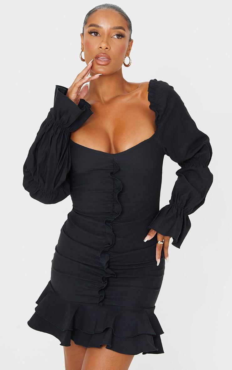 Black Puff Sleeve Ruffle Detail Frill Hem Bodycon Dress 3