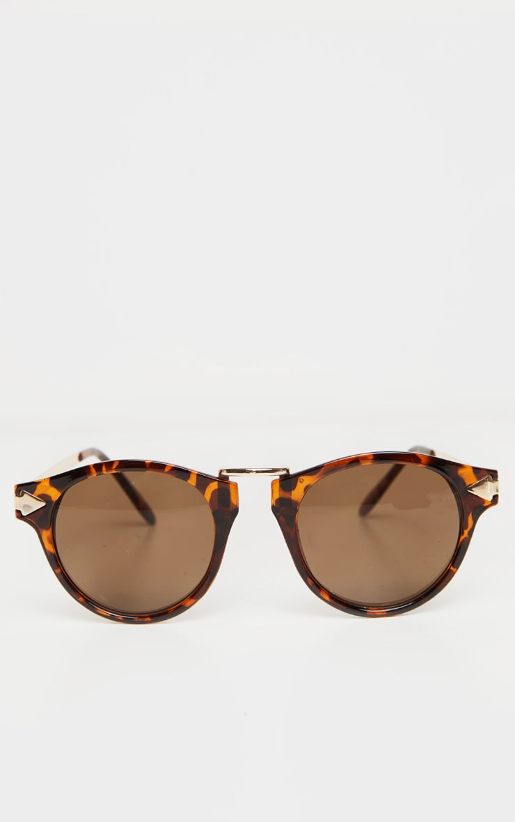 Lunettes de soleil écaille de tortue marron style aviateur 2
