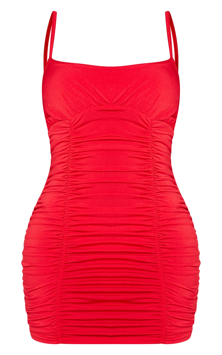 Shape Red Slinky Extreme Ruched Bodycon Dress 5