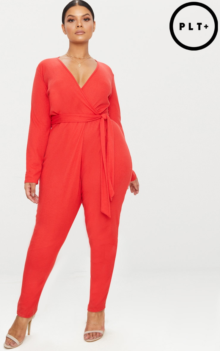 f092d01865c3e Plus Red Ribbed Wrap Front Jumpsuit image 1