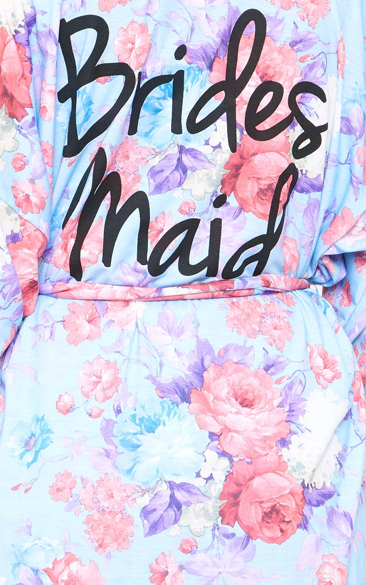 Bridesmaid Floral Blue Dressing Gown 6