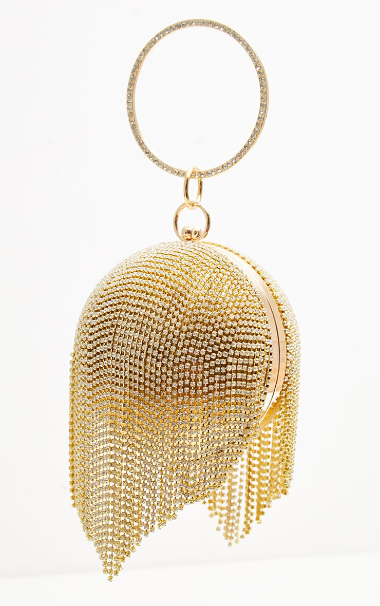 Gold Diamante Tassel Sphere Clutch 2