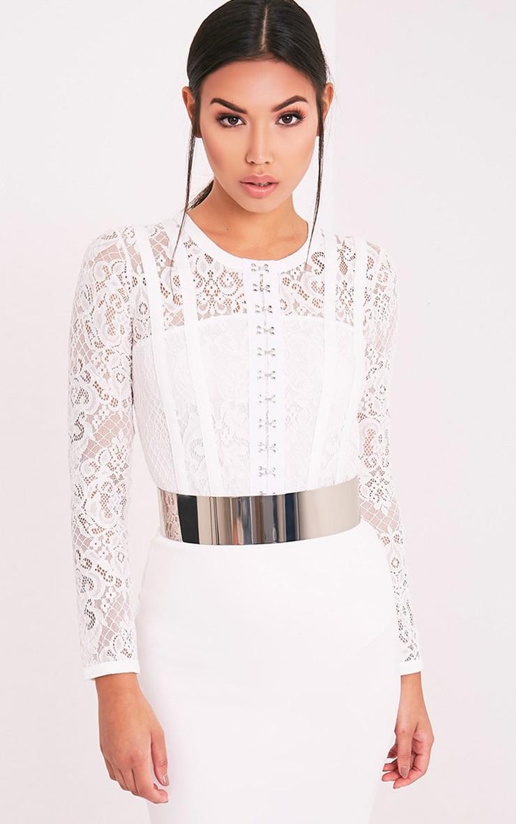Idalia Cream Hook & Eye Lace Thong Bodysuit 1