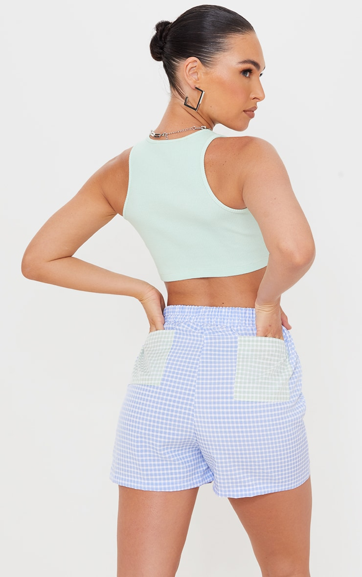 Blue Gingham Woven Contrast Pocket Runner Shorts 1