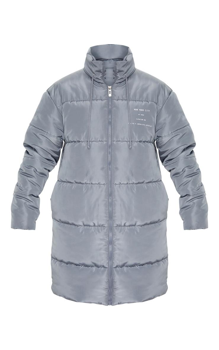 Grey Slogan Midi Oversized Puffer Coat 3
