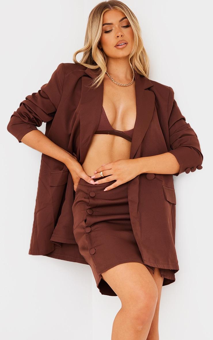 Chocolate Brown Woven Button Sleeve Detail Blazer 1