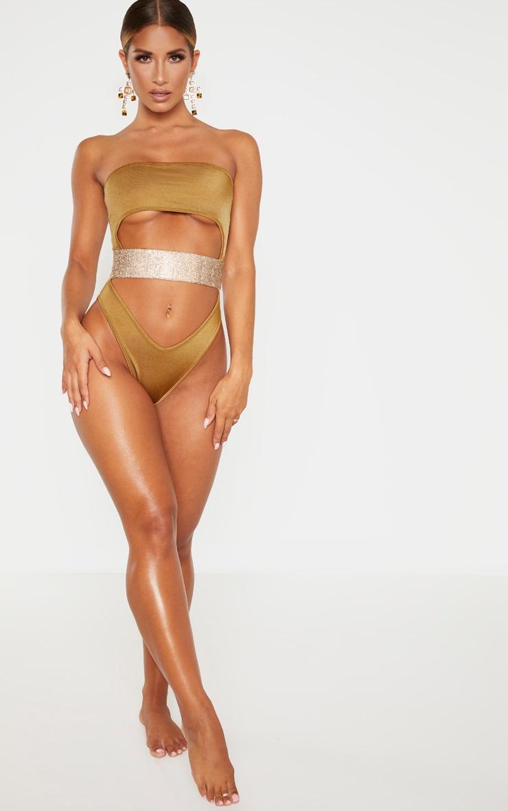 Mocha Strapless Gold Diamante Waist Swimsuit 3