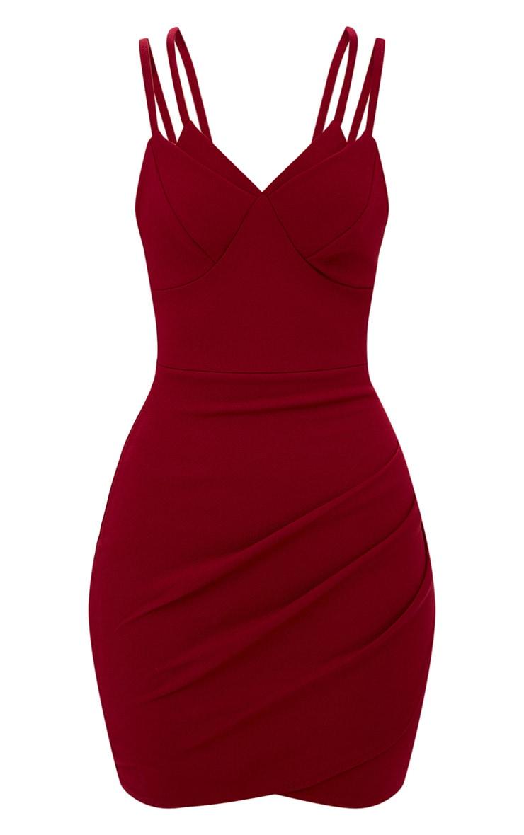 Burgundy Double Strap Wrap Skirt Bodycon Dress 3