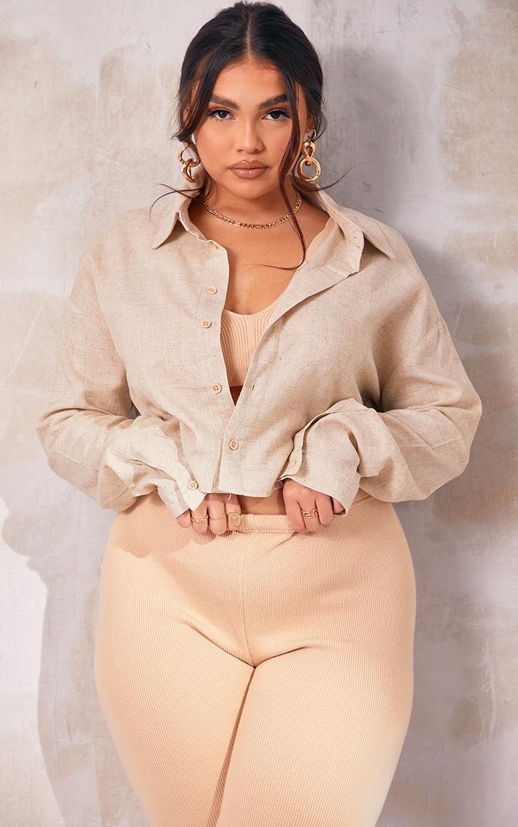 Plus Cream Linen Look Crop Shirt