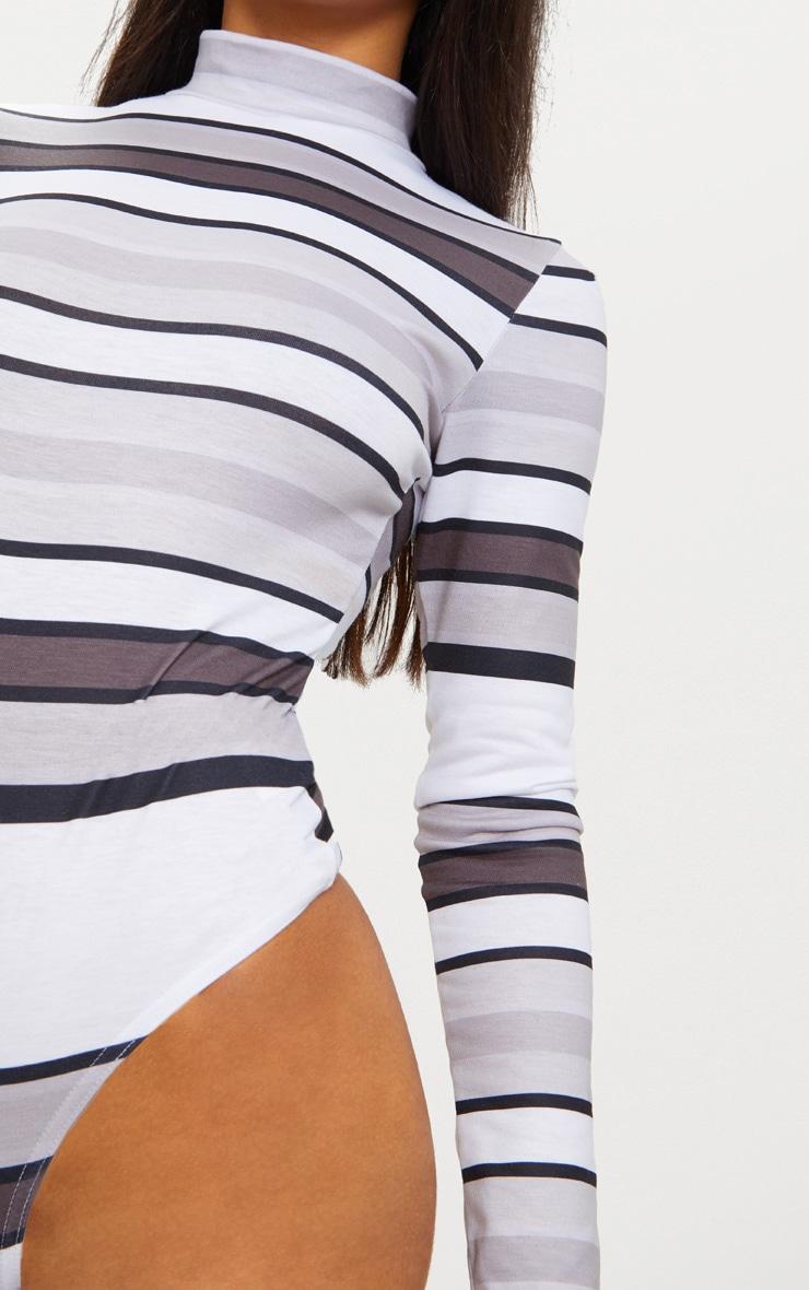 Monochrome High Neck Stripe Thong Bodysuit 6