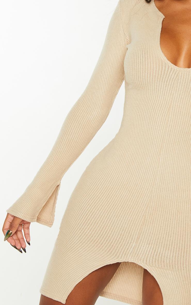 Shape Stone Brushed Rib Split Sleeve Bodycon Dress 4