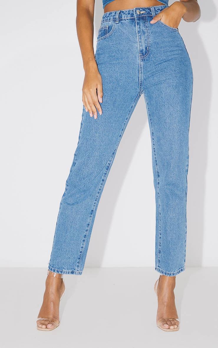 PRETTYLITTLETHING Mid Blue Straight Leg Jean  2
