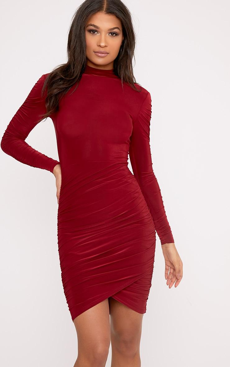Sinitah Burgundy Long Sleeve Ruched Bodycon Dress 1
