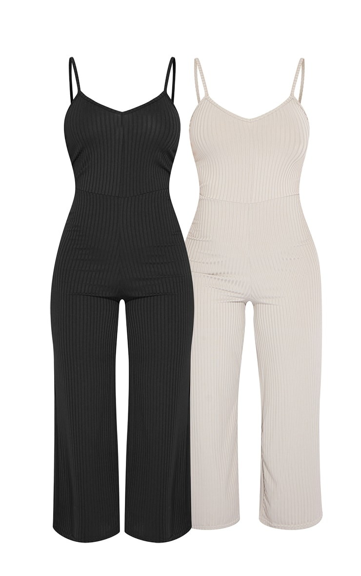 Black & Grey 2 Pack Ribbed Culotte Jumpsuit 5
