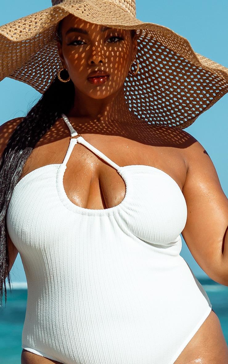 Plus White Cross Front Swimsuit  3