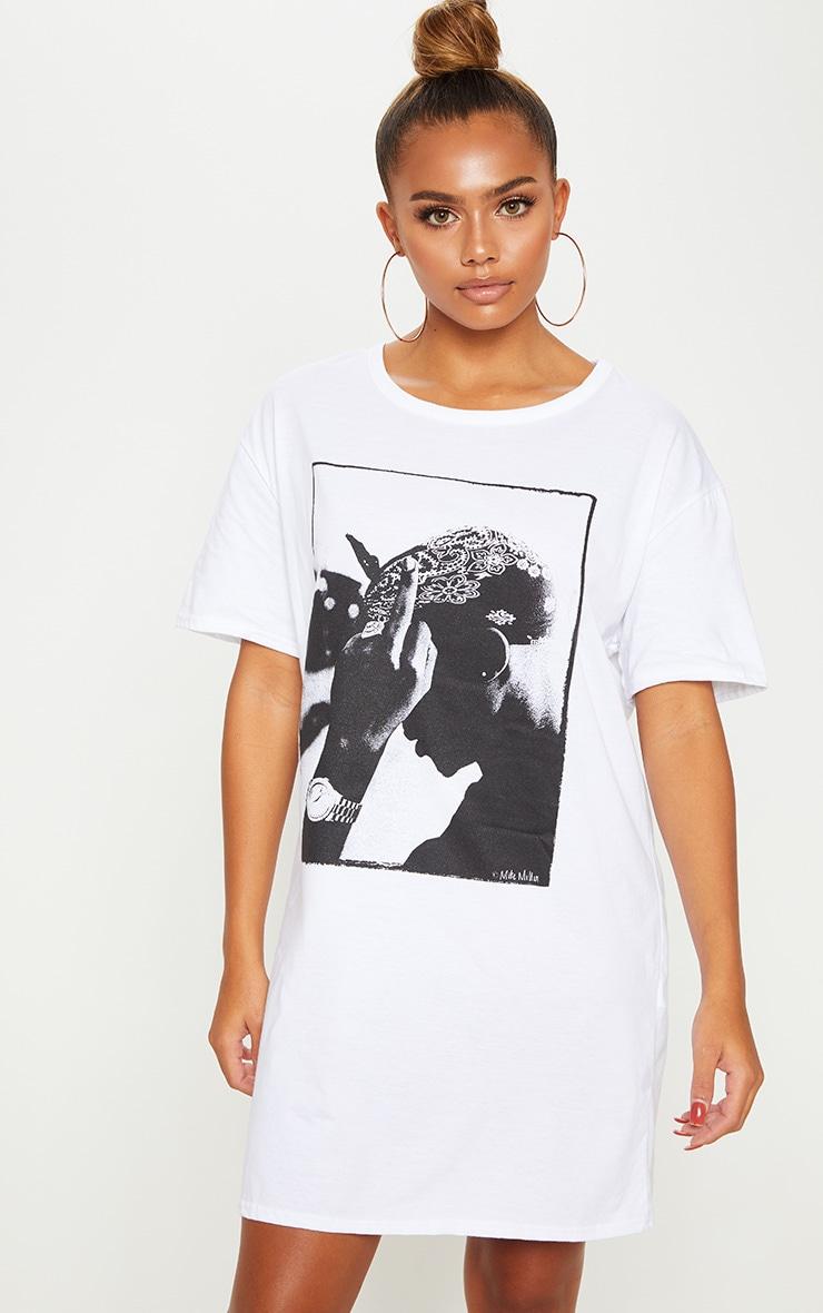 white tupac bandana oversized t shirt dress prettylittlething usa
