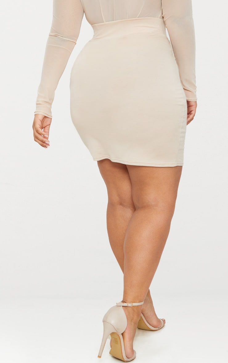 Plus Stone High Waisted Bodycon Skirt 4