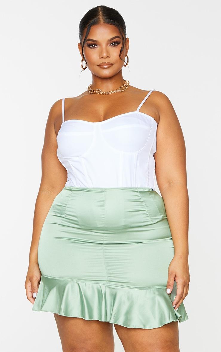 Plus Sage Green Satin Frill Hem Mini Skirt 4