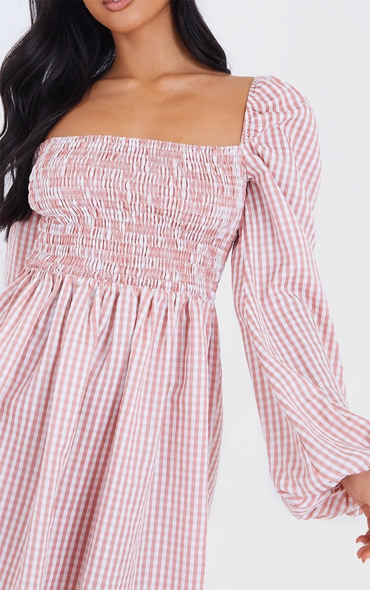 Petite Pink Shirred Detail Gingham Smock Dress 4