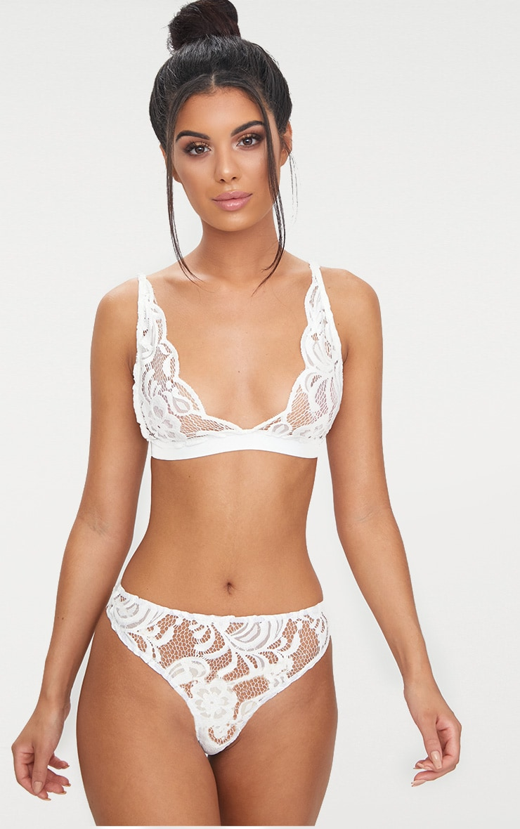 White Floral Lace Elastic Trim Bra 1
