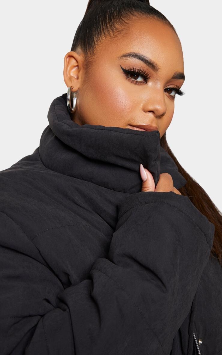 Plus Black Peach Skin Cropped Puffer Jacket 4