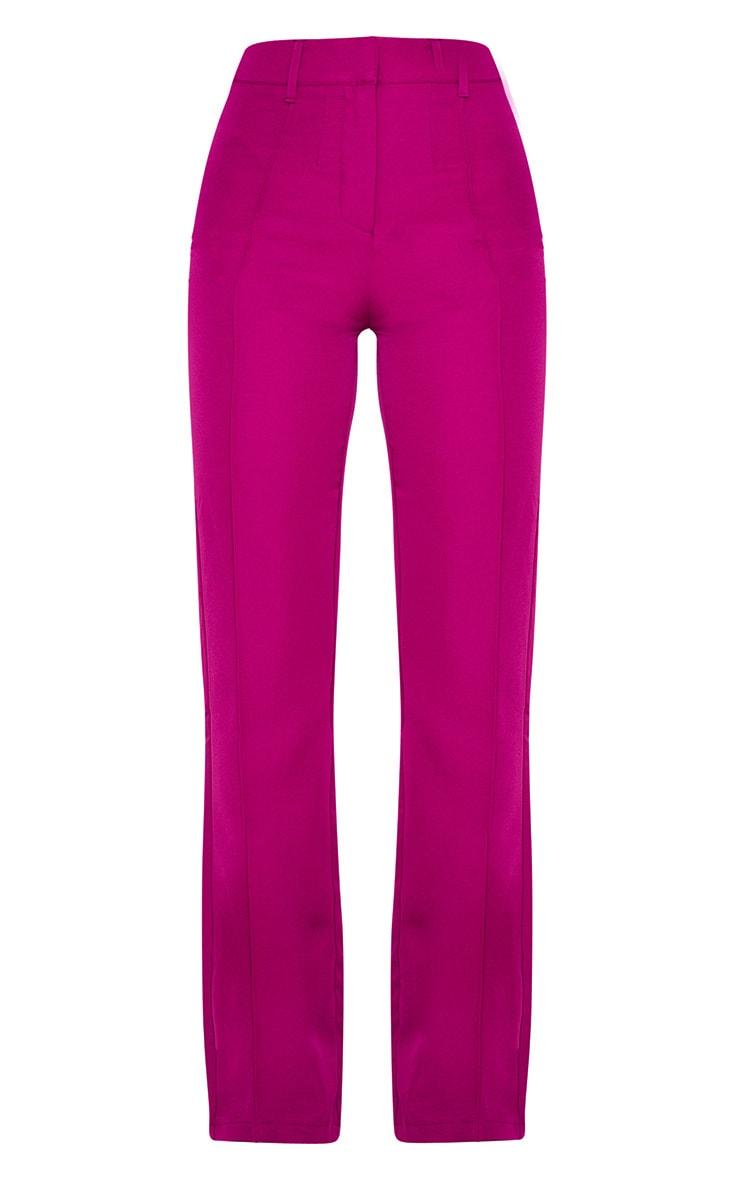 Fuchsia Anala High Waisted Straight Leg Trouser 3