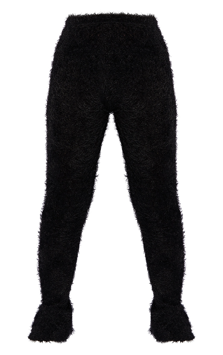 Petite Black Eyelash Split Hem Legging 5