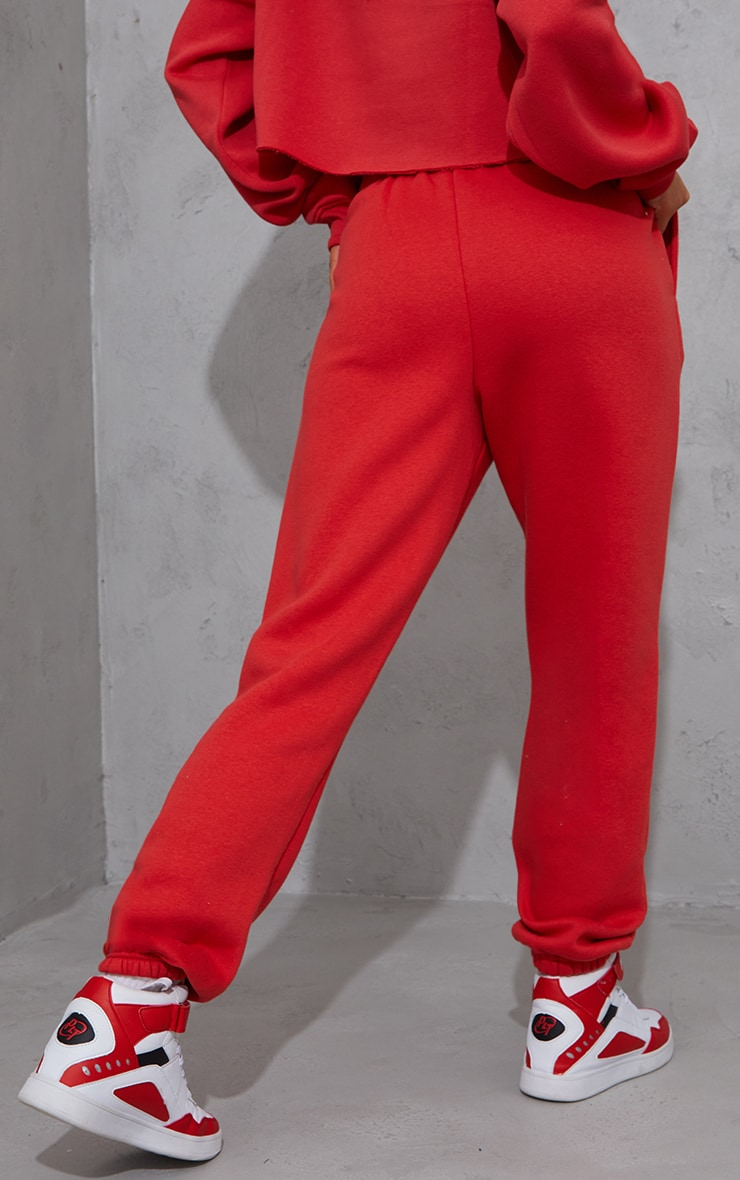 PRETTYLITTLETHING Red Block Embroidered Joggers 3