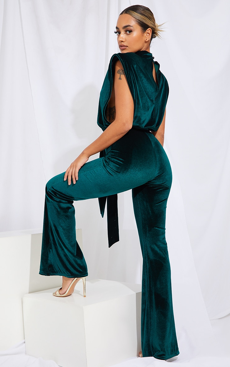 Petite Emerald Green Velvet Shoulder Pad Tie Waist Wide Leg Jumpsuit 2