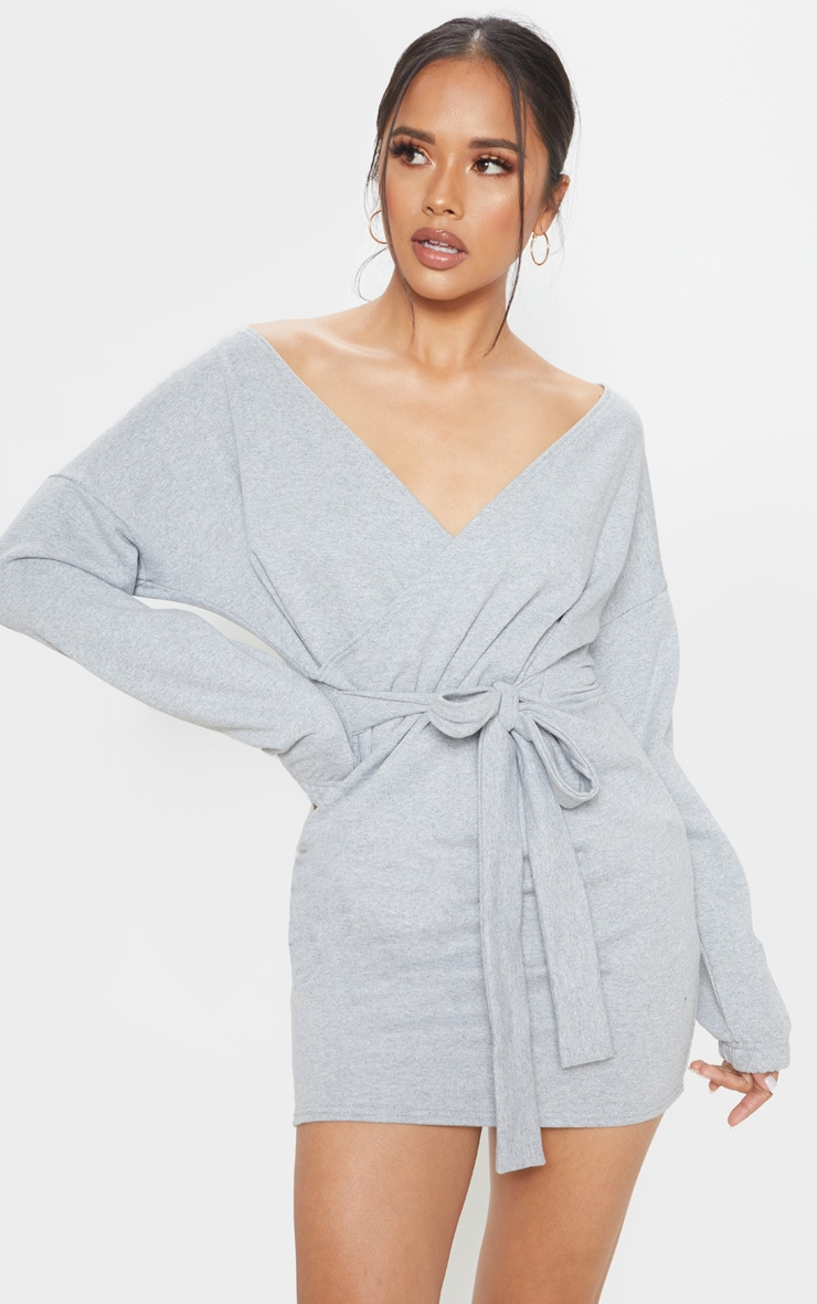 Grey Sweat Wrap Bodycon Dress 1