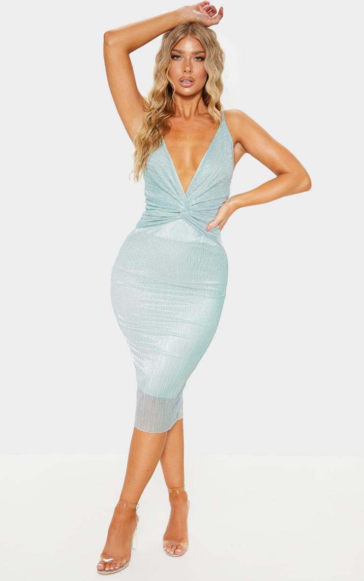 Mint Metallic Plisse Knot Front Strappy Midi Dress  1