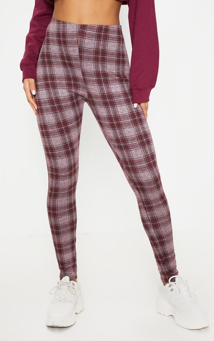 Grey Check Brushed Printed Legging 2
