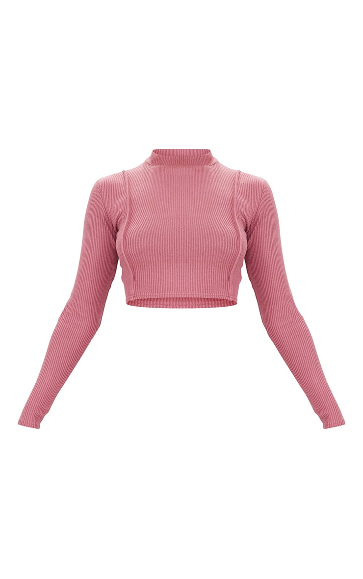 Mauve Brushed Rib Seam Front High Neck Long Sleeve Crop Top 5