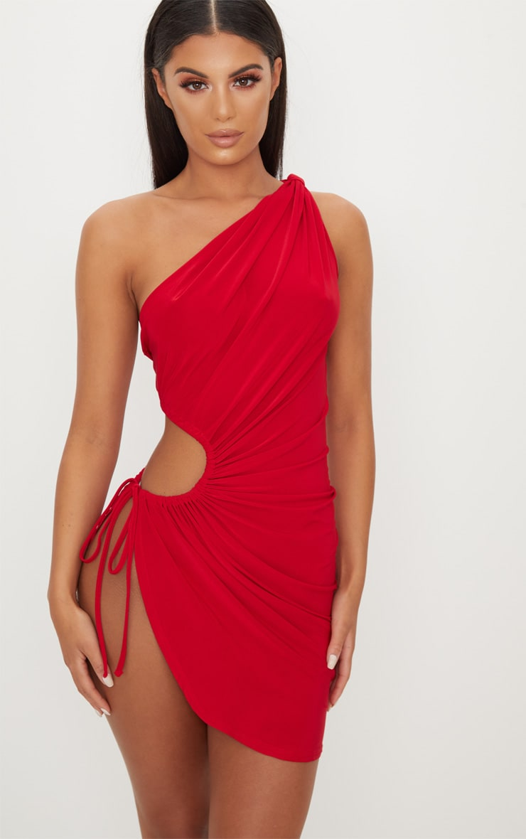 Red Slinky Ruched Side Cut Out Bodycon Dress 1