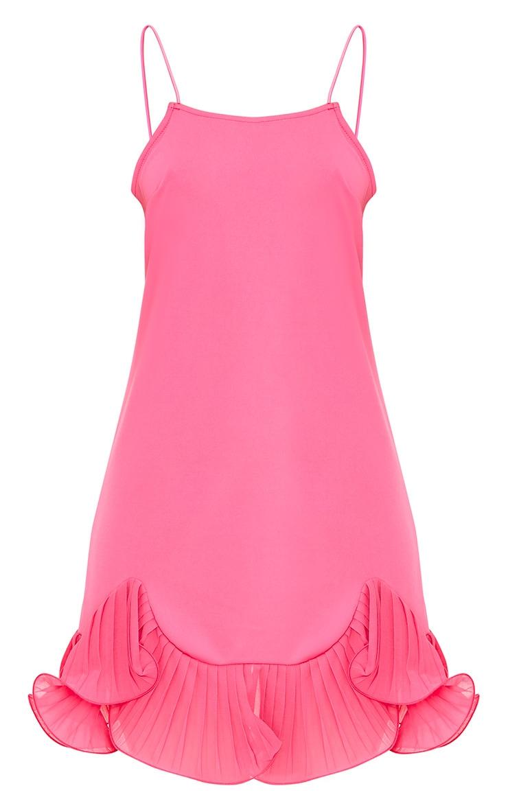 Darshia Hot Pink Strappy Pleated Frill Hem Shift Dress  3