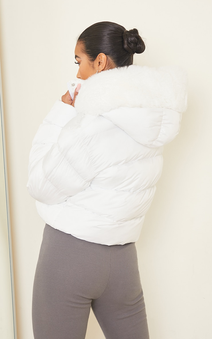 White Faux Fur Hooded Puffer Coat 2